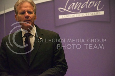 (Photo by Parker Robb | Collegian)  Israeli Ambassador to the U.S. Michael Oren talks to the media following his speech on relations between the United States and Israel during the 162nd annual Landon Lecture Tuesday morning in Forum Hall in the K-State Student Union. Manhattan residents and K-State students packed Forum Hall for the opportunity to hear the dignitary speak.