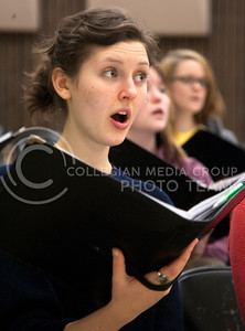 Rachel Hunt, freshman studying vocal performance, sings along with her womens choir class Tuesday. The class practices in McCain 204.  (Photo by Evert Nelson/Collegian)