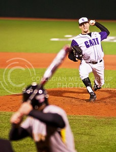 (Photo by Jed Barker | Collegian) Junior left hand pitcher Jared Moore throws against Wichita State at Tointon Family Stadium on April 9, 2013.
