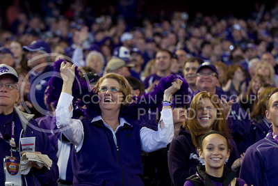 Fans show their purple during the Fiesta Bowl pep rally at Chase Fields January 2, 2013 in Pheonix, Ariz.  (Photo by Evert Nelson / Collegian)