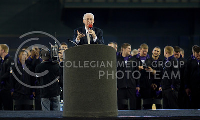 Coach Bill Snyder talks to fans at Chase Field with the football team behind him during a pep rally before the Fiesta Bowl in Pheonix, Ariz January 2, 2013.  (Photo by Evert Nelson / Collegian)