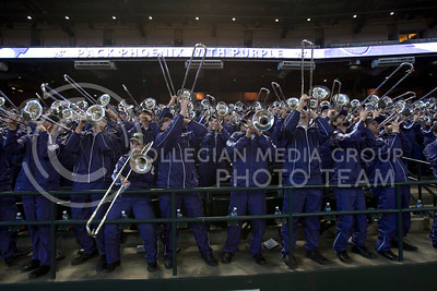 The Pride Kansas State Band plays at Chase Stadium in Phoenix, Ariz., during Kansas State's pep rally for the Fiesta Bowl Wednesday, January 1, 2013.  (Photo by Evert Nelson / Collegian)