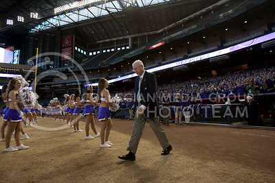 Coach Bill Snyder walks on to Chase Stadium Wednesday January 2, 2013 for the pep rally the day before the Fiesta Bowl against Oregan University.  (Photo by Evert Nelson / Collegian)