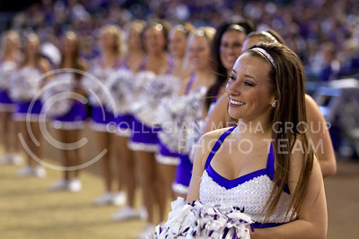 Kansas State cheerleaders stand on the side of Chase Stadium in Phoenix, Arizona Wednesday January 2, 2013.  (Photo by Evert Nelson / Collegian)