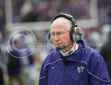 (Photo by Emily DeShazer | Collegian) Bill Snyder looks across the field during a game at Bill Snyder Family Stadium.