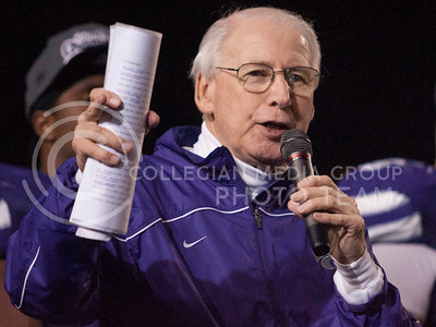 Coach Bill Snyder talks during a ceremony after the Cats game against the Texas Longhorns.  (Photo by Evert Nelson / Collegian)