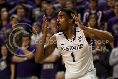 Junior guard Shane Southwell reacts in disbelief to a call during the Wildcats' 83-57 victory over the visiting Texas Longhorns on January 30th in Bramlage Coliseum. [Jacob Dean Wilson]
