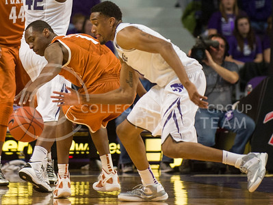 (Photo by Emily DeShazer | Collegian) Shane Southwell steals the ball from Texas  at Bramlage Coliseum on January 30, 2013.