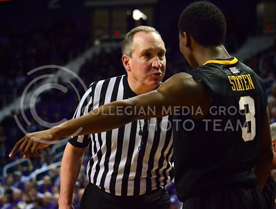 (Photo by Parker Robb | Collegian)  West Virginia guard Juwan Staten argues with the referee during the Wildcats' game against Bob Huggin's West Virginia Mountaineers February 18 at Bramlage Coliseum. The Wildcats beat the Mounaineers 71-61 amid a game that included 49 personal fouls and 55 free throws.