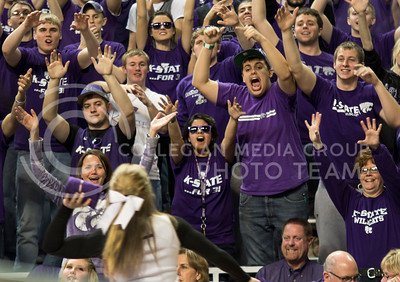 K-State fans cheer in order to receive a t-shirt during the Wildcats' 71-61 victory over the visiting West Virginia Mountaineers on February 18th in Bramlage Coliseum. [Jacob Dean Wilson | Collegian]