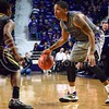 (Photo by Parker Robb | Collegian)<br /> <br /> K-State senior forward Rodney McGruder tries to find a way past a West Virginia defender during the Wildcats' game against Bob Huggin's West Virginia Mountaineers February 18 at Bramlage Coliseum. The Wildcats beat the Mounaineers 71-61 amid a game that included 49 personal fouls and 55 free throws.