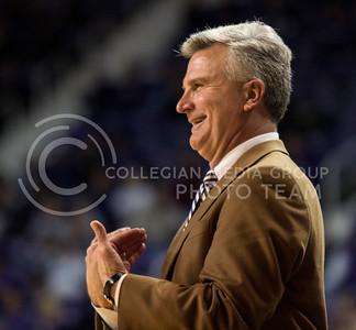 Head Coach Bruce Weber signals to his team during the Wildcats' 75-55 win over the visiting Texas Tech Red Raiders on February 25th in Bramlage Coliseum. [Jacob Dean Wilson | Collegian]