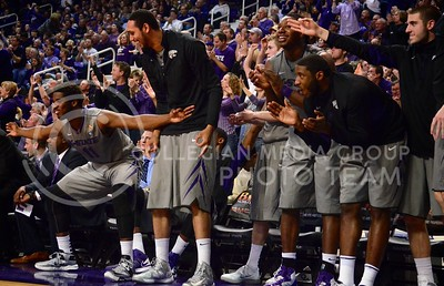 (Photo by Parker Robb | Collegian)  The Wildcats' bench erupts after a made three-point shot during the Wildcats' basketball game against Iowa State in Bramlage Coliseum February 9, 2013. The Wildcats avenged their earlier loss to Iowa in Ames with a 79-70 victory, and now remain the sole team in possession of first place in the Big XII.
