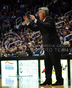 (Photo by Parker Robb | Collegian)  Head men's basketball coach Bruce Weber signals to his team during the Wildcats' game against Iowa State February 9, 2013 at Bramlage Coliseum. The Wildcats avenged their earlier loss to the Cyclones in Ames with a 79-70 victory, and now remain the sole team in possession of first place in the Big XII.