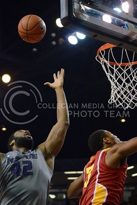 (Photo by Parker Robb | Collegian)  K-State forward Thomas Gipson jumps for a rebound against Iowa State February 9, 2013 at Bramlage Coliseum. The Wildcats avenged their earlier loss to the Cyclones in Ames with a 79-70 victory, and now remain the sole team in possession of first place in the Big XII.