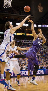 [Photo by Emily DeShazer | Collegian] Rodney McGruder shoots a basket during the title game of the Big 12 Championship at the Sprint Center on March 16, 2013.