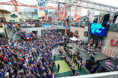 [Photo by Emily DeShazer | Collegian] K-Stae fans gather for a pep rally before the title game of the Big 12 Championship on March 16, 2013.