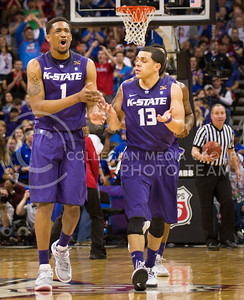 [Photo by Emily DeShazer | Collegian] Shane Southwell and Angel Rodriguez react to a foul during the title game of the Big 12 Championship at the Sprint Center on March 16, 2013.