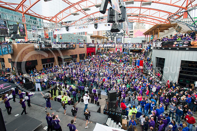 [Photo by Emily DeShazer | Collegian] A crowd gathers for a pep rally in the Power and Lights district across the street from the Sprint Center before the title game of the Big 12 Championship on March 16, 2013.