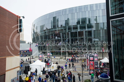 The Kansas City Skyline reflected in the Sprint Center before the title game of the Big 12 Championship on March 16, 2013. (Emily DeShazer | The Collegian)