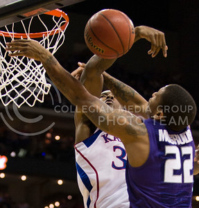 [Photo by Emily DeShazer | Collegian] Rodney McGruder's shot is blocked during the title game of the Big 12 Championship at the Sprint Center on March 16, 2013.