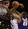 [Photo by Emily DeShazer | Collegian]<br /> Rodney McGruder's shot is blocked during the title game of the Big 12 Championship at the Sprint Center on March 16, 2013.