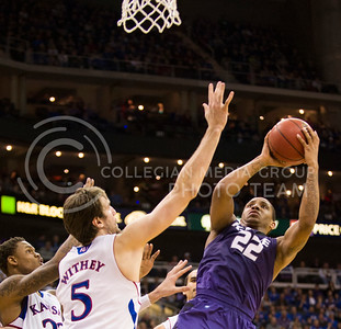 [Photo by Emily DeShazer   Collegian] Rodney McGruder takes aim during the title game of the Big 12 Championship at the Sprint Center on March 16, 2013.