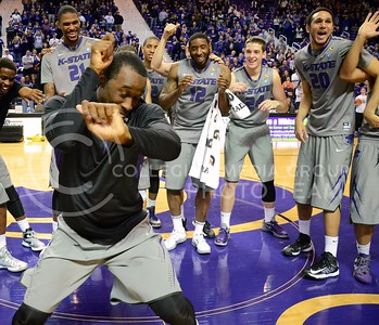 (Photo by Parker Robb | Collegian)  K-State senior guard Martavious Irving dances for the crowd one last time after his final game in Bramlage Coliseum March 5. The Wildcats defeated the Horned Frogs 79-68, and remained in the race for the Big XII title with one game left.