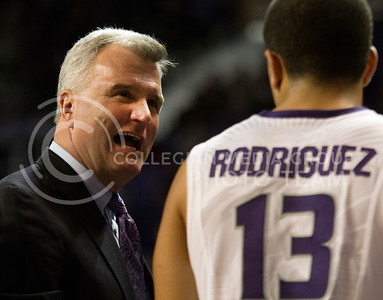 Head coach Bruce Weber talks with sophomore guard Angel Rodriguez during the Wildcats' 79-55 win against the visiting Lamar Cardinals on November 12th in Bramlage Coliseum. The game was part of the NIT Season Tip-Off Midwest Regional. Rodriguez finished with a game-high 19 points, shooting 4-of-6 from the 3-point line. [Jacob Dean Wilson]