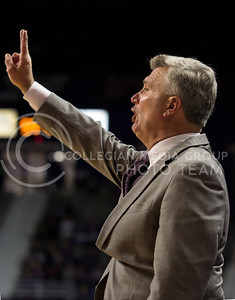 Men's Basketball Head Coach Bruce Weber signals to his team during the Wildcat's 85-52 season opening victory over North Dakota on November 9th in Bramlage Coliseum. [Jacob Dean Wilson | Collegian]