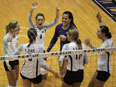 The Wildcats celebrate a point during their narrow 3-1 Sunflower Showdown loss on November 7th against the visiting Kansas Jayhawks at Ahearn Field House. [Jacob Dean Wilson]