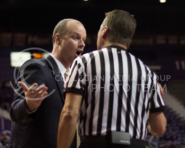 Ball State head coach Brady Sallee argues a call during the Wildcats' 60-48 victory over the visiting Cardinals on March 28, 2013 in Bramlage Coliseum during the third round of the Women's National Invitation Tournament (WNIT). The Ball State bench was called for a technical foul later in the match, and tensions were high throughout. [Jacob Dean Wilson | Collegian]