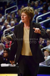 (Photo by Parker Robb| Collegian)  Women's Basketball Head Coach Deb Patterson signals a play to her team during the Wildcats' final home game against Texas Tech March 2 in Bramlage Coliseum. The Wildcats beat the Red Raiders 68-62 on Senior Day.