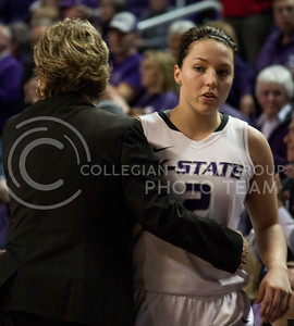 Head Coach Deb Patterson comforts senior guard Brittany Chambers at the end of the Wildcats' 54-46 loss to the visiting Utes on April 3, 2013 in Bramlage Coliseum during the Semifinals of the Women's National Invitation Tournament (WNIT). Chambers scored a team-high 16 points in her final game. [Jacob Dean Wilson | Collegian]