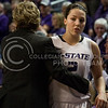 Head Coach Deb Patterson comforts senior guard Brittany Chambers at the end of the Wildcats' 54-46 loss to the visiting Utes on April 3, 2013 in Bramlage Coliseum during the Semifinals of the Women's National Invitation Tournament (WNIT). Chambers scored a team-high 16 points in her final game. [Jacob Dean Wilson   Collegian]