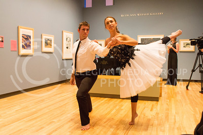 (Photo by Minh Mac / Collegian)  Christopher Jungk, junior in architecture and dance, and Paige Heinze, a junior in dance and elementary education, perform Quiet City.  Night of Wonder exhibit was a performing-art exhibit in The Beach Museum of Art, held on Friday, Sept. 20, 2013. The exhibit featured both student and professional performers from around the country.