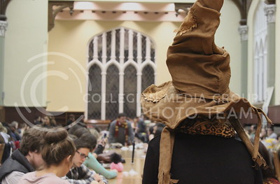 Josh Staab // The Collegian  A view from the sorting hat stool from last night's Back to School Harry Potter Feast in the Great Room.  The sorting hat was one of the most popular and memorable options of last night's feast.