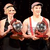 Photo by Parker Robb | Collegian<br /> <br /> Michelle Williams, sophomore in kinesiology, and Chance Berndt, K-State student ambassador, receive the mirror ball trophies for winning season 6 of Dancing with the K-State Stars: Evolution of Dance with their serious, risqué tango from the 2000s. Williams and Berndt received perfect preliminary scores of 10 from all three judges.
