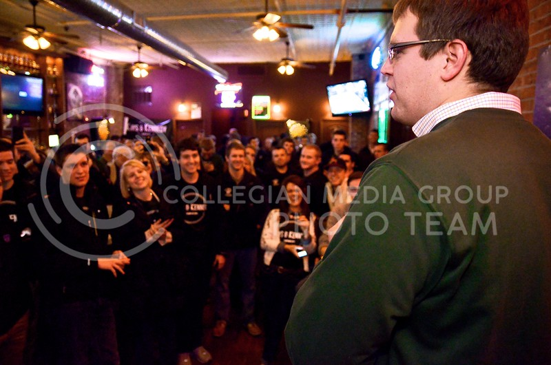 Photo by Parker Robb | The Collegian  Newly-elected student body president Reagan Kays gives thanks to supporters of his and Cody Kennedy's campaign at the duo's election watch party March 5, 2014, at Johnny Kaw's in Aggieville.
