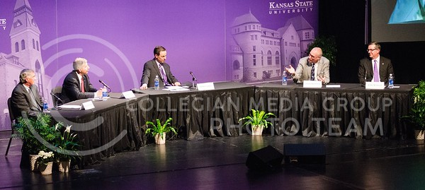 Photo by Parker Robb   The Collegian  The 164th Landon Lecture panel, including (from left to right) former athletic director of the University of Texas DeLoss Dodds, Big 12 Commissioner Bob Bowlsby, K-State Athletic Director John Currie, ESPN president John Skipper, and K-State President Kirk Schulz, discusses a wide range of topics spannign the world of sports and sports media, from whether or not college athletes should be paid to the permeation of sports and sports coverage into our everyday lives and its connectivity among people to the prospect of unbundling cable TV.