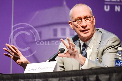 Photo by Parker Robb   The Collegian  Dr. John Skipper, president of ESPN, explains why he thinks cable companies and their subscriptions aren't going away in favor of a la carte pricing schemes because it results in the end consumer paying more for only a few channels during the 164th Landon Lecture held in McCain Auditorium April 2, 2014.