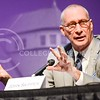 Photo by Parker Robb | The Collegian<br /> <br /> Dr. John Skipper, president of ESPN, explains why he thinks cable companies and their subscriptions aren't going away in favor of a la carte pricing schemes because it results in the end consumer paying more for only a few channels during the 164th Landon Lecture held in McCain Auditorium April 2, 2014.