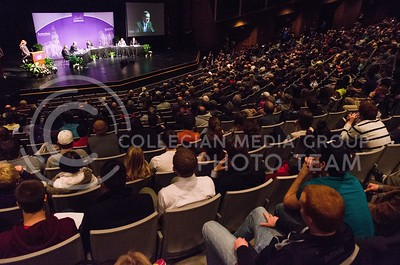 Photo by Parker Robb | The Collegian  K-State students and Manhattan residents fill McCain Auditorium to hear about current issues in sports and sports media April 2, 2014.