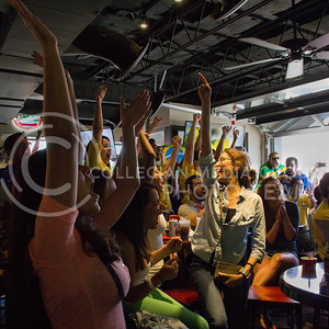 (Photo by Taylor Alderman | Collegian)  Brazil fans celebrating after watching Brazil defeat Croatia at a Brazil World Cup watch party at Tanner's Bar and Grill last Thursday.