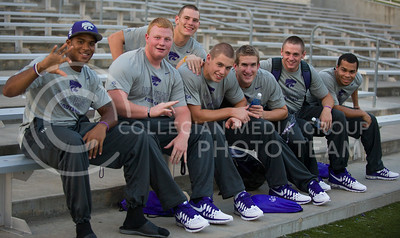 K-State football team members enjoy the K-State Kickoff Sunday at Bill Snyder Family Stadium. (Photo by Emily DeShazer / The Collegian)