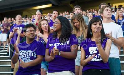 K-State students performing the Wabash Cannonball Sunday at Bill Snyder Family Stadium. (Photo by Emily DeShazer / The Collegian)