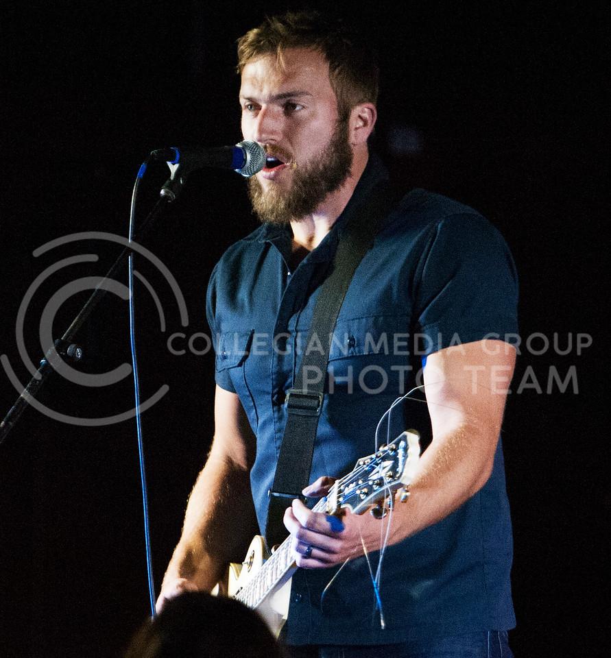 (Photo by Zach Werhan / The Collegian)<br /> Logan Mize sings at the Warehem during Thursday night Alli Kemp concert.