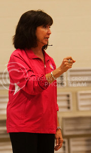 (Photo by Zach Werhan / The Collegian) Jill Lieker, a self defense instructor for girls all over the midwest, teachs a class of girls at the Rec. basic self defense skills. Sorority Pi Beta Phi hosts their anual philanthropy Alli Kemp Thursday night to raise awareness and to fight against sexual predators.