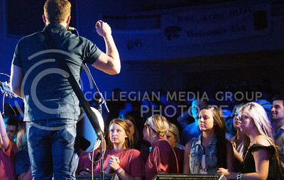 (Photo by Zach Werhan / The Collegian) Logan Mize pumps up the large crowd Thursday night at the Alli Kemp Concert. The concert lasted for about an hour and twenty minutes at the Warehem.