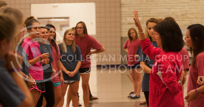 (Photo by Zach Werhan / The Collegian) Jill Lieker, a self defense instructor for girls all over the midwest, shows girls at Thursday night's event, Alli Kemp, how to fight off sexual predators. This event is hosted annual by Sorority Pi Beta Phi.